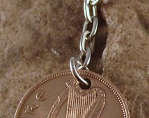 1967 1/2d Half Penny Leath Phingin Irish Coin Keyring Key Chain Fob 49th Birthday