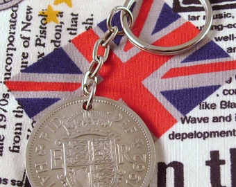 1962 Half Crown Coin Keyring Key Chain Fob