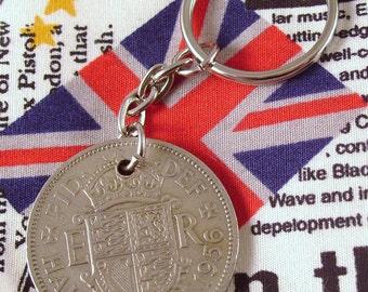 1956 Half Crown Coin Keyring Key Chain Fob