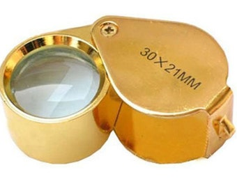 Jeweler's LOUPE 30x 21mm Triplet Jewelers Jewelry Magnifying Glass Gold Color finish Pocket Magnifier for art stamps 30 power magnify