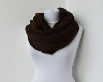CLEARANCE SALE - Brown Fabric Scarf - Infinity Scarf - Loop Scarf - Circle Scarf - Soft Scarf    814