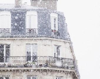 Snowfall in Paris Photo - Paris Photography, Fine Art Photography, Paris Print, Paris Snow, Paris Winter, Paris Home Decor, Paris Decor