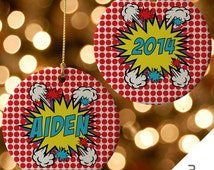 Superhero Ornament, Boys Gift, Custom Superhero Christmas Ornament, Comic Book Ornament, Superhero Decor, Holiday Ornament