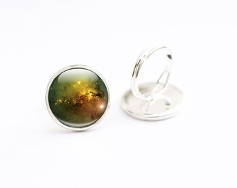 Space Ring - Adjustable Silver Ring - Large Glass Nebula Ring