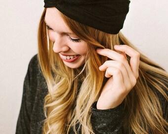 Harlow- Black turban headband