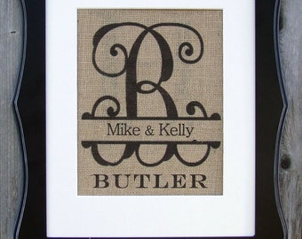 Family Name Burlap Cursive Initial,  established and personalized just for you