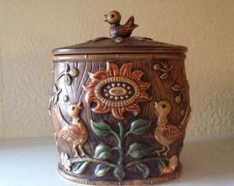 RARE Vintage Lefton Cookie Jar Ceramic Brown Birds and Sunflowers H7858 Free Shipping