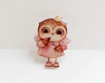Owl brooch owl jewelry owl princess , Christmas gift, Animal brooch owl brooch clay owl ,gifts under 25 (0013)