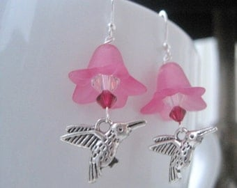 Hummingbird Earrings - Hummingbird Jewelry - Spring Jewelry - Flower Earrings - Hot Pink - Flower Jewelry - Pink Earrings - Pink Jewelry