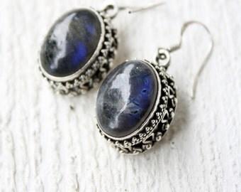 Vintage Sterling Silver Chinese Fluorite Drop Earrings