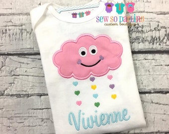Baby Girl Cloud Outfit - Personalized Baby Girl Clothes - Baby Girl Outfit - Girl Cloud Shirt