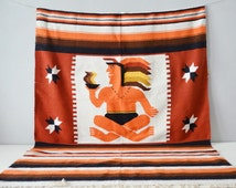 Aztec Blanket - Home Decor - Aztec Rug - Southwestern Decor - Wool Blanket - Mexican Blanket - Aztec Wall Hanging - Mexican Rug - Fall
