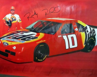 Ford Mustang Nascar Poster Ricky Rudd Driver #10 Tide Promo Racing Sponsor Thunderbird Automobilia Muscle Car