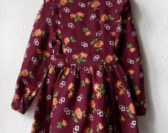 Laura - 1970's Floral and Burgundy Dress - Age 4 to 5/ 5 to 6