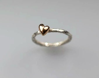 Tiny puffy heart ring in silver and bronze, little heart ring, organic heart ring, rings for women, anniversary gift