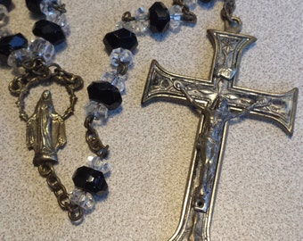 Beautiful Vintage Set of Black and Crystal Rosary Beads with Brass Crucifix  D502J