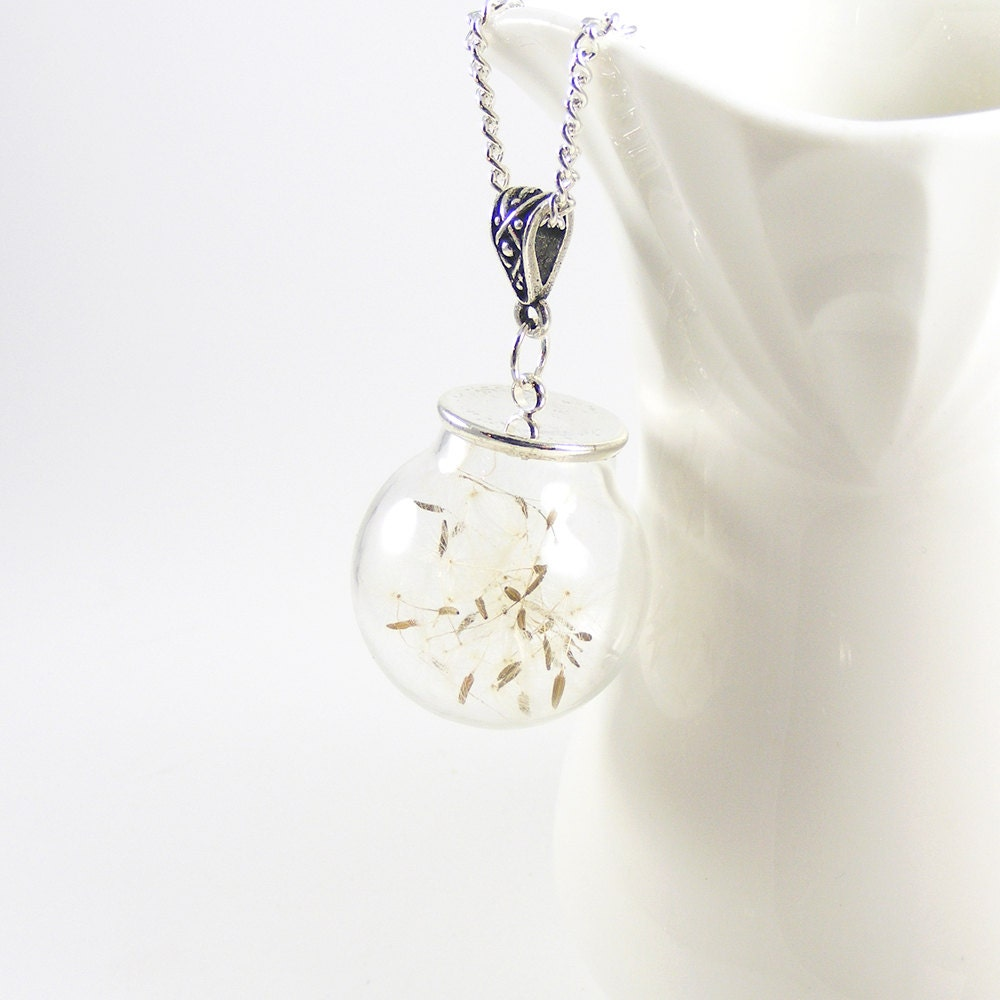 Make a Wish Necklace, Dandelion Seed Necklace, Nature Lovers Terrarium Good Luck Charm Bridal Jewelry Mothers Day Gift