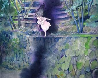 "Original Painting B5-size ""やまめぐる鬼""  the spirit moving aroud mountain   - fantasy illustration,forest,paper mounted on wood panel"