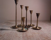 Vintage Brass Danish Mid Century Modern Candlestick Collection Set of 6