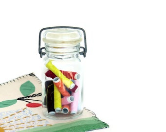 Pint Canning Jar, Glass Lid w Bail and Rubber Seal, Filled w Colorful Thread Spools