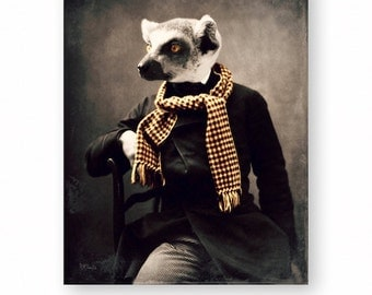 """Lemur Wall Art, Anthropomorphic Wall Decor, Home Decor, Art Print, Poster, Gift For Him, Victorian Animal (3 Sizes) """"Frankie And His Scarf"""""""