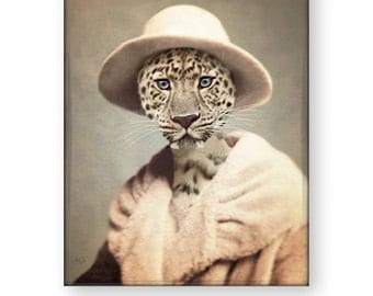 "Leopard Art Print Animal Art Anthropomorphic Animals In Clothes Big Cat Pastel Painting Unique Decor (3 sizes) ""Pastel Stella"""
