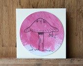 Small Gift Card - Mushroom and Light - Whimsical Botanical - Hand Drawn