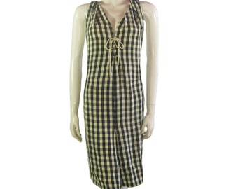 Vintage IS Issey Miyake Check Twisted Dungarees - 1980s
