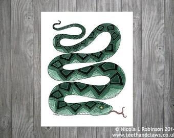 Snake Art Print, Tribal Snake Print, Green Snake Wall Art, Snake Home Decor, Serpent Print, Snake Painting, Nature Art, Colourful Snake