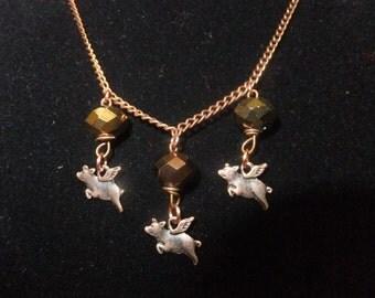 Copper Crystal Flying Pig Necklace