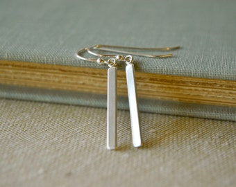 Simple Minimalist Sterling Silver Bar Earrings - Simple Elegant Chic Everyday Handmade Jewelry twoblindmice