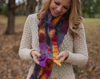 Sunset bliss wet felted scarf in merino wool