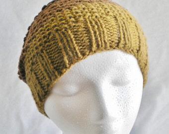Handknit hat, brown striped