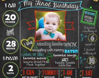 Little Man, First Birthday Chalkboard Poster DIGITAL FILE