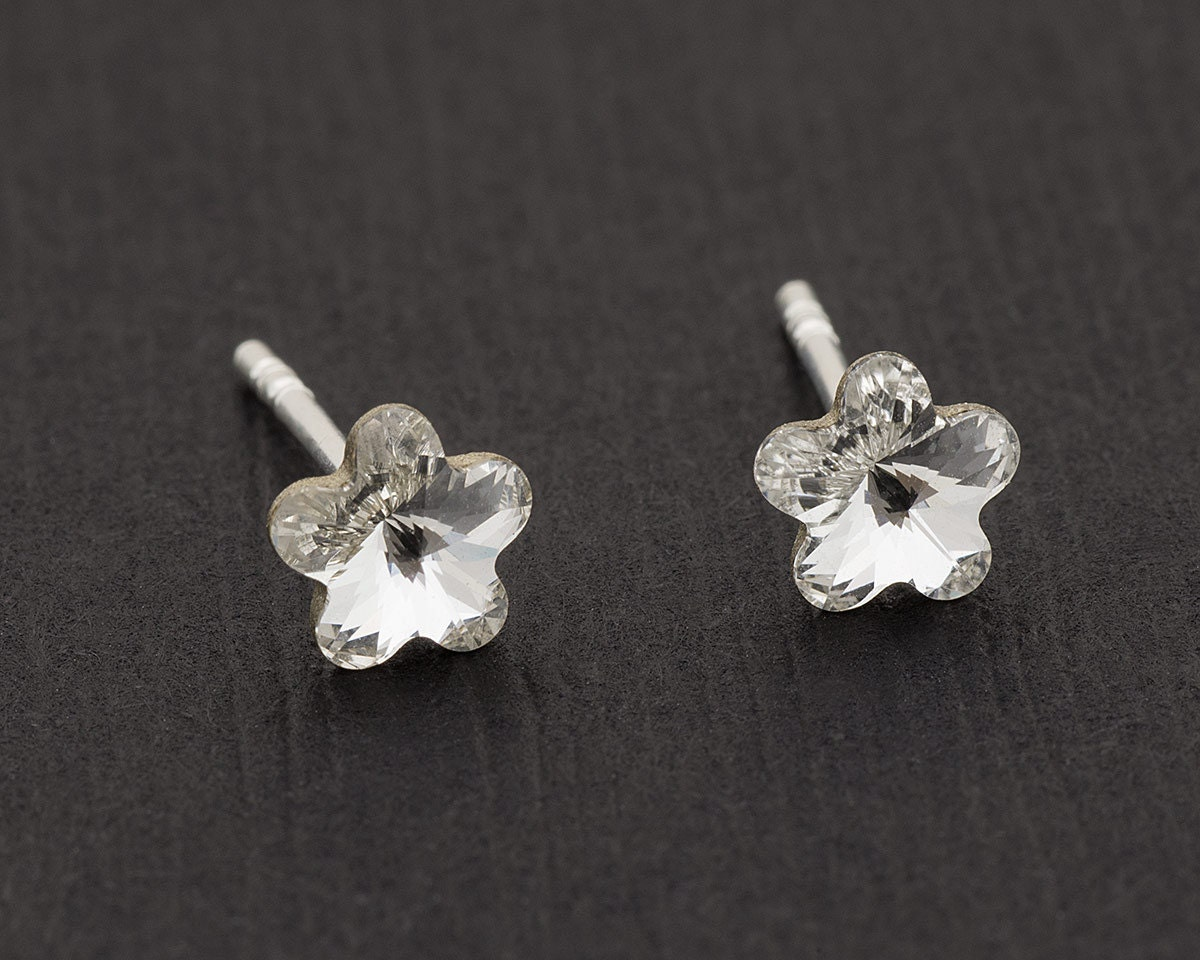 Tiny swarovski flower earrings flower stud earrings crystal for Gemsprouts tiny plant jewelry