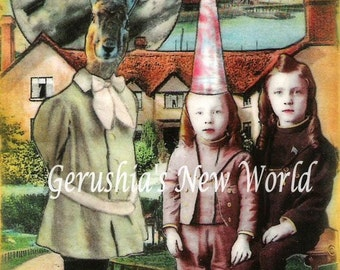 Rabbit's Curious Day (Tiny Tale Art) - Anthropomorphic Watercolor/Collage Print