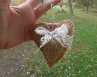 Burlap Ornaments, Shabby Chic Christmas Ornaments, burlap heart ornament, Rustic Christmas Ornament, burlap and lace christmas ornaments