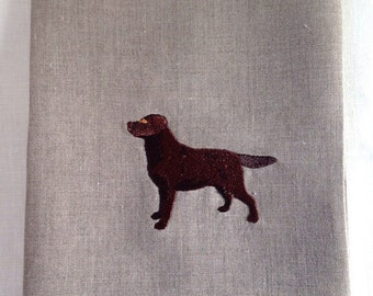 Tea Towel or Guest Towel embroidered Chocolate Lab.  Embroidered dog towel.  Labrador hand towel.