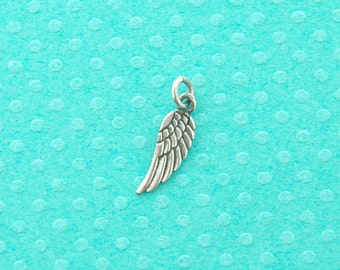 sterling silver charm - 3 pcs - sterling silver wing pendant - 925 guardian angel wing charm - sterling wing necklace