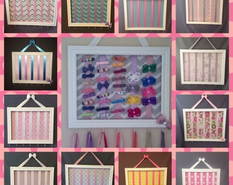 BEST SELLER-You design wood Bow holder/bow organizer.  3 sizes -Over 100 fabrics available.  Please pm me picture of nursery/room for ideas!