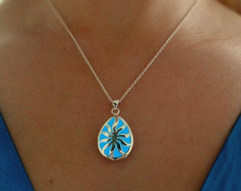 Aqua Blue Glowing Sun Necklace - Glow in the Dark Jewelry - Glowing Drop Pendant - Gift For Her - READY TO SHIP