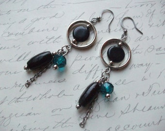 Black and teal blue modern earrings