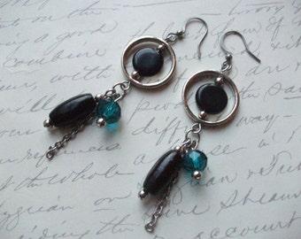 Black and teal blue modern drop earrings
