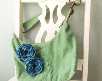 Fabric Flower Pin - Teal Flower Clip - Teal Wedding