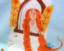 Rapunzel Child's Blanket, Heather Ross Fabric, Fairytale Lap Blanket, Princess Throw, Hand-Tied Quilt, Wall Decor, Cotton
