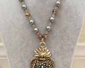 Beaded Heart Rosary Necklace