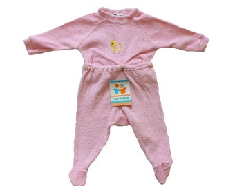 FRENCH vintage 70's / for babys / pajamas / overalls / pink terrycloth / cat pattern / new old stock / size  3 months