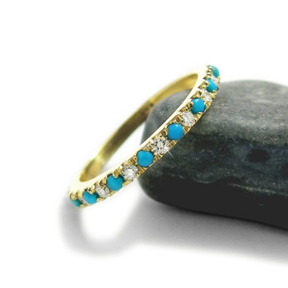 turquoise engagement ring diamond and turquoise wedding band turquoise eternity ring diamond ring - Turquoise Wedding Rings