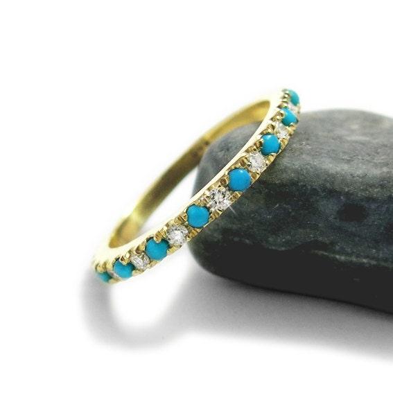 Turquoise Engagement Ring Diamond And Turquoise Wedding Band