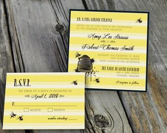 PRINTED Honey Bee Invitation - Wedding or Celebration